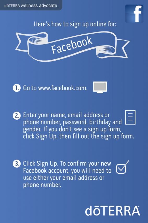 How to sign up for Facebook new account to promote Doterra